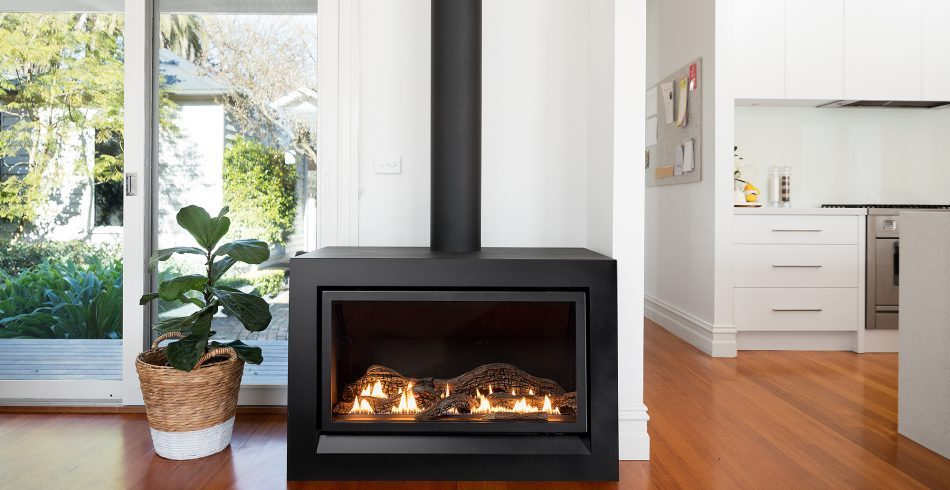 Highly Efficient Enviro Log Fireplace With Freestanding Casing