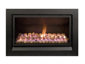 Enviro gas fireplace with pebble insert