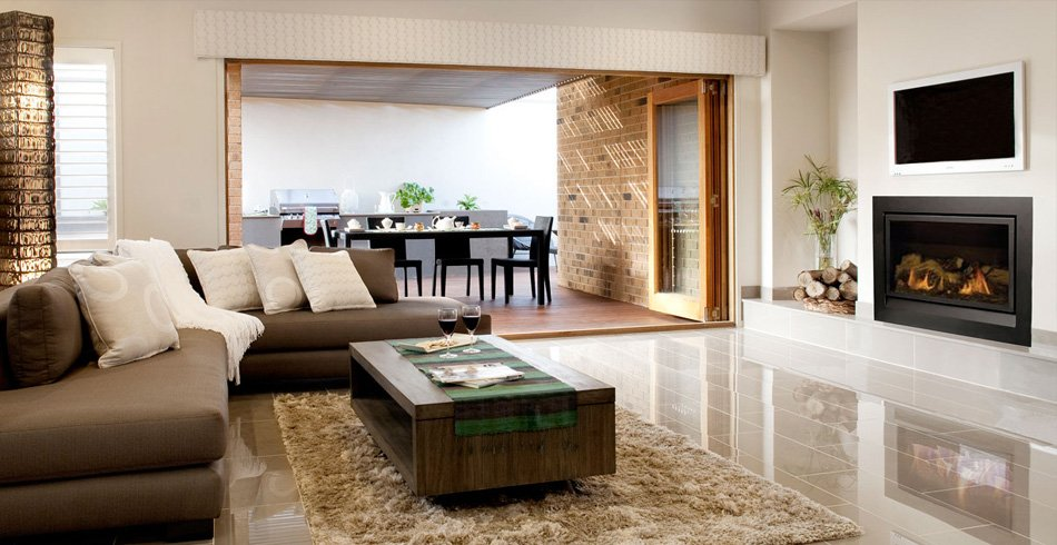 Enviro log fireplace in contemporary setting