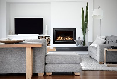 Modern Enviro log fireplace with black ext fascia