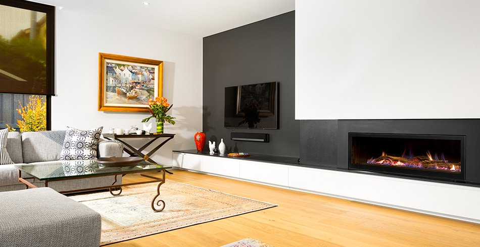 Modern Seamless landscape gas fireplace Hampton