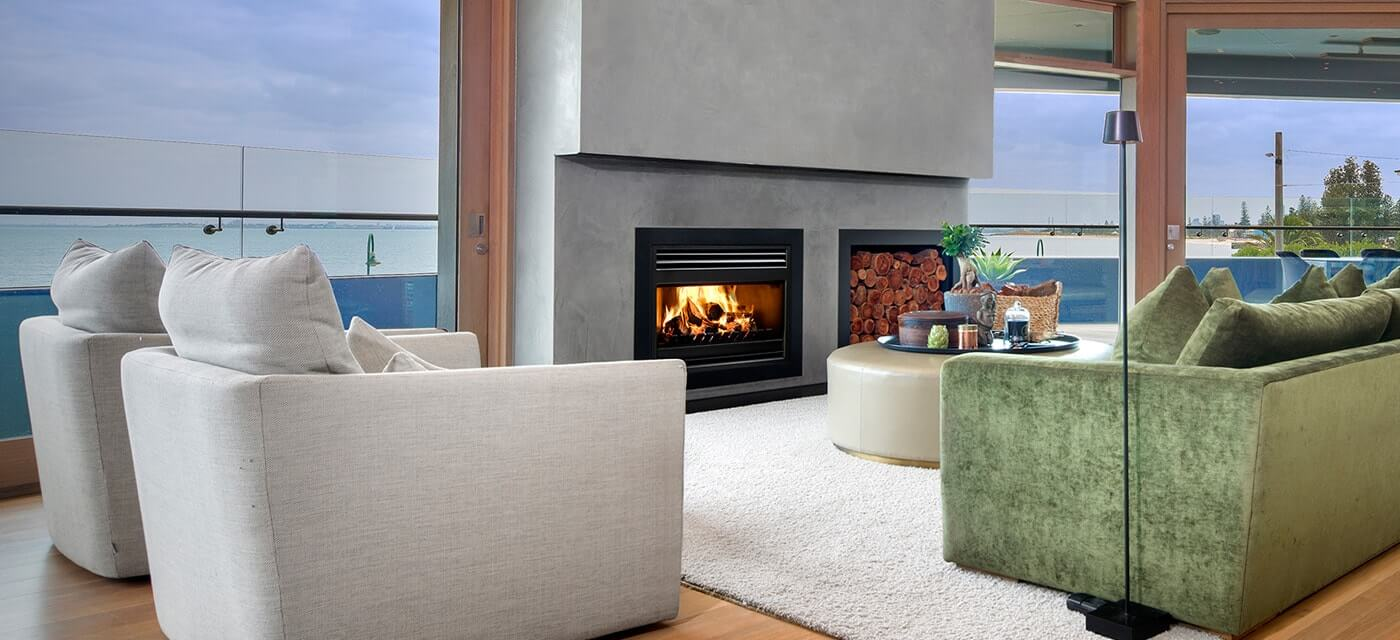Open wood fire with contemporary fascia Brighton