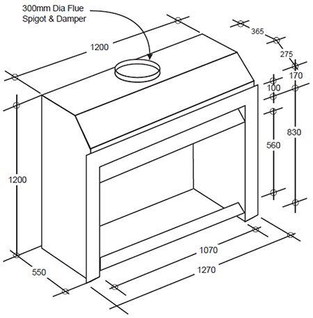 Large modern z1200 open wood fireplace