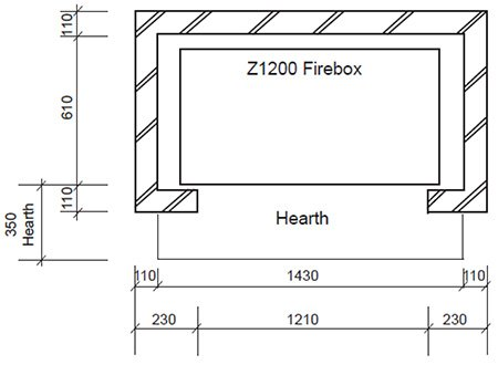 modern Z series open wood fireplace