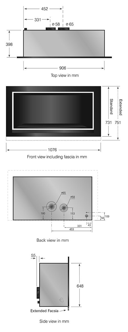 easy install modern enviro gas fireplace unit dimensions image