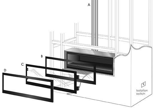 easy install modern Seamless gas fireplace flue